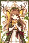 1girl antlers beret bow bowtie brown_hair coat dress flower frame green_coat green_eyes green_headwear hat holding kh_(kh_1128) leaf long_hair long_sleeves looking_at_viewer open_clothes open_coat open_mouth original outside_border smile solo standing white_dress white_flower wing_collar