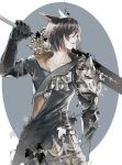 1other androgynous animal_ears arm_at_side armor asymmetrical_clothes bangs black_hair cat_ears coat collarbone dark_knight_(final_fantasy) final_fantasy final_fantasy_xiv gloves greatsword hand_up holding holding_sword holding_weapon hug_ff14 leaf lips long_sleeves looking_to_the_side miqo'te over_shoulder parted_lips plant short_hair shoulder_armor spaulders sword upper_body vines weapon weapon_over_shoulder