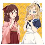 2girls bangs black_neckwear blonde_hair blue_eyes blue_sailor_collar blush bow brown_hair dress drill_hair eating eyelashes food hair_bow hakama harukaze_(kantai_collection) hat highres holding holding_food janus_(kantai_collection) japanese_clothes kantai_collection kimono meiji_schoolgirl_uniform multiple_girls open_mouth pastry pink_kimono red_bow red_eyes red_hakama sailor_collar sailor_dress sailor_hat short_hair short_sleeves tanaka_io_(craftstudio) twin_drills upper_body white_dress white_headwear wide_sleeves