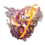 1girl ahoge armor axe belt breasts cleavage_cutout dragalia_lost fire flame forge full_body garters gloves holding katana large_breasts long_hair looking_at_viewer non-web_source official_art purple_hair red_eyes rena_(dragalia_lost) saitou_naoki sitting smile solo sword transparent_background weapon