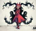 1boy alastor_(hazbin_hotel) animal_ears antlers bow bowtie cane different_shadow gloves grin hazbin_hotel horror_(theme) koto_inari looking_at_viewer microphone_stand monocle monster paint_can paint_splatter red_eyes red_sclera red_suit redhead sharp_teeth smile teeth torn_clothes tuxedo white_skin