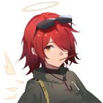 1girl arknights bangs brown_eyes closed_mouth exusiai_(arknights) eyebrows_visible_through_hair eyewear_on_head food food_in_mouth green_jacket hair_over_one_eye halo highres hua_ye jacket looking_at_viewer mouth_hold pocky redhead simple_background solo sunglasses upper_body white_background