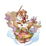 1girl animal_ears boots dog_ears dog_girl dog_tail dragalia_lost full_body gauntlets holding holding_sword holding_weapon looking_at_viewer medium_hair non-web_source official_art open_mouth saitou_naoki serena_(dragalia_lost) smile solo sword tail weapon