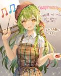 1girl :d apron braid breasts brown_apron canvas_(object) collared_shirt earrings green_hair hair_ribbon hand_up highres holding jewelry long_hair looking_at_viewer medium_breasts momoko_(momopoco) musical_note open_mouth orange_eyes original paintbrush plaid red_headwear red_ribbon ribbon shirt short_sleeves sidelocks smile solo upper_body white_shirt