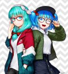 2girls ;d adjusting_eyewear alternate_costume aqua_eyes aqua_hair arm_holding artist_name black-framed_eyewear black_headwear black_shorts blue_eyes blue_hair blue_nails blush bow buttons casual closed_mouth clothes_writing commentary_request contemporary front_ponytail glasses green_jacket grey_background hair_bow hair_ribbon hairband hand_in_pocket hand_up hat highres hood hood_down hoodie jacket kageharu kagiyama_hina kawashiro_nitori key long_hair long_sleeves looking_at_viewer multiple_girls nail_polish navy_blue_skirt one_eye_closed open_mouth red-framed_eyewear red_bow red_ribbon ribbon shirt short_hair short_shorts shorts smile striped striped_ribbon touhou twitter_username two-tone_background two_side_up unzipped white_shirt