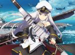 1girl aircraft aircraft_carrier artist_request azur_lane belt black_belt black_coat black_neckwear blue_sky bow_(weapon) clouds coat commentary_request enterprise_(azur_lane) eyebrows_visible_through_hair flight_deck hat military military_hat military_vehicle ocean open_clothes open_coat peaked_cap ship shirt sky sleeveless sleeveless_shirt smile underbust warship watercraft weapon white_headwear