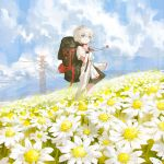 1girl backpack bag bangs blue_eyes blush clothes_around_waist day eyebrows_visible_through_hair flower grey_hair highres jewelry looking_at_viewer original outdoors pendant power_lines reoen short_hair short_sleeves smile solo standing