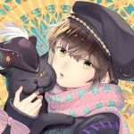 1girl bangs black_cat black_headwear blush bow brown_eyes brown_hair cat eyebrows_visible_through_hair fingernails hat_feather head_tilt highres huacai long_sleeves looking_at_viewer one_eye_closed original parted_lips pink_bow pink_lips pink_scarf plume portrait scarf sleeves_past_wrists sun_(symbol) sun_print sweater
