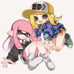 2girls :o bangs baseball_cap black_shorts black_sweater blonde_hair blue_sweater blunt_bangs cross-laced_footwear domino_mask dress_shirt fang floating green_footwear green_shirt grey_background grey_eyes grey_legwear gym_shorts hat inkling light_blush logo long_sleeves looking_at_viewer maco_spl makeup mascara mask multiple_girls octarian pink_hair pointy_ears print_hat shirt shoes shorts simple_background sneakers socks splatoon_(series) splatoon_2 striped striped_shirt suction_cups sweater tentacle_hair v-neck white_shirt yellow_headwear yellow_tongue