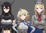3girls :/ bangs black_hair blonde_hair blue_eyes blue_neckwear breasts brown_eyes capelet closed_mouth colorado_(kantai_collection) crossed_arms disconnected_mouth dress elbow_gloves flower garrison_cap gloves grey_background grey_dress hair_ornament hands_on_hips hat headgear highres kantai_collection large_breasts long_hair long_sleeves multiple_girls nagato_(kantai_collection) navel necktie nelson_(kantai_collection) pleated_dress red_flower red_neckwear red_rose remodel_(kantai_collection) rose shirt short_hair side_braids simple_background sleeveless smug stota1320 uniform upper_body white_shirt