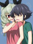 :t anchovy bangs black_hair black_ribbon blue_background blush braid brown_eyes casual closed_eyes commentary drill_hair eyebrows_visible_through_hair flying_sweatdrops frown girls_und_panzer green_hair green_shirt hair_ribbon hand_on_another's_face highres long_hair looking_at_another looking_back motion_lines open_mouth pepperoni_(girls_und_panzer) red_eyes red_shirt ribbon ruka_(piyopiyopu) shirt short_hair short_sleeves side_braid sweat t-shirt translated twin_drills twintails upper_body v-neck wavy_mouth