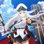 album_cover artist_request azur_lane bald_eagle belt bird black_belt black_coat black_neckwear blue_sky bow_(weapon) clouds coat cover cowboy_shot eagle enterprise_(azur_lane) flight_deck hat highres military_hat miniskirt open_clothes open_coat peaked_cap pleated_skirt shirt skirt sky sleeveless sleeveless_shirt title underbust weapon white_headwear