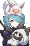 1girl animal animal_on_head aqua_hair armor cat closed_mouth drill_hair eye_black hair_over_one_eye highres holding holding_animal holding_cat loalo looking_down looking_up monster monster_hunter monster_hunter:_world on_head open_mouth original pointy_ears red_eyes twintails weapon weapon_on_back yellow_eyes