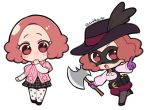 1girl :o atlus axe bandolier belt black_legwear blush brown_eyes brown_hair chibi commentary_request cravat cute do_m_kaeru domino_mask dual_persona gloves hat hat_feather long_sleeves mask megami_tensei moe noir_(persona) okumura_haru pantyhose persona persona_5 pink_sweater plaid plaid_skirt pointing print_legwear purple_gloves ribbed_sweater shin_megami_tensei short_over_long_sleeves short_sleeve_sweater short_sleeves shuujin_academy_uniform skirt sweater twitter_username underbust vest white_legwear