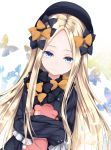 1girl abigail_williams_(fate/grand_order) bangs black_bow black_dress black_headwear blonde_hair blue_eyes blush bow bug butterfly chiutake_mina dress fate/grand_order fate_(series) forehead hat highres insect long_hair looking_at_viewer orange_bow parted_bangs ribbed_dress sleeves_past_fingers sleeves_past_wrists solo stuffed_animal stuffed_toy teddy_bear white_background