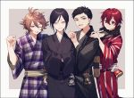 4boys :d ;d aqua_eyes atsushi_toushirou bag black_border black_hair border brown_eyes brown_hair gotou_toushirou grey_eyes hand_on_another's_shoulder hands_in_opposite_sleeves highres japanese_clothes kimono male_focus multiple_boys one_eye_closed open_mouth redhead scarf shinano_toushirou smile touken_ranbu violet_eyes yagen_toushirou yamada_chickenko yukata
