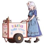 1girl adapted_costume apron blue_dress bottle cart commentary cup curly_hair dress flower food frills full_body grey_eyes hair_between_eyes hair_flower hair_ornament highres ice_cream ice_cream_bar ice_cream_cone jar jewelry letty_whiterock loafers looking_at_viewer mefomefo necklace no_socks pocket shoes short_sleeves silver_hair simple_background smile snowflakes solo spanish_text sprinkles touhou translated white_background wide_sleeves