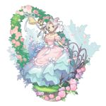 1girl :d blue_eyes bow bride dragalia_lost dress flower full_body garland_(decoration) grass heart holding looking_at_viewer official_art open_mouth ribbon saitou_naoki smile solo transparent_background white_hair xania