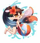 +_+ 1girl aori_(splatoon) artist_name ball barefoot beachball bikini black_bikini black_hair callie_(splatoon) commentary coula_cat cute dark_skin domino_mask fangs floating flower hair_flower hair_ornament highres holding holding_ball looking_at_viewer mask mole mole_under_eye multicolored_hair nintendo nintendo_ead open_mouth orange_flower orange_hair outline pointy_ears side-tie_bikini signature smile splatoon_(series) string_bikini summer swimsuit tentacle_hair two-tone_hair very_dark_skin white_background white_outline