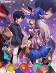1boy 1girl animal_ears black_hair blue_hoodie blue_neckwear book bow bowtie circle closed_eyes commentary_request copyright_name dress fake_animal_ears grey_hair hat holding holding_book hood hoodie irisu_kyouko irisu_shoukougun! juliet_sleeves long_hair long_sleeves looking_at_another maho_(boku_no_kao_wo_otabeyo) profile puffy_sleeves rabbit_ears red_eyes shaded_face square triangle uujishima_(irisu) wide_sleeves witch_hat