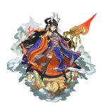 1girl :o black_hair blue-framed_eyewear chinese_clothes detached_sleeves dragalia_lost full_body glasses holding holding_spear holding_weapon long_hair long_sleeves non-web_source official_art open_hand polearm saitou_naoki spear very_long_hair weapon wide_sleeves xuan_zang_(dragalia_lost)