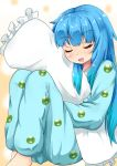 1girl alternate_costume animal_print bangs blue_hair blush body_pillow commentary_request drooling eyebrows_visible_through_hair feet_out_of_frame gradient gradient_background hair_down kappa kawashiro_nitori knees_up long_hair long_sleeves open_mouth orange_background pajamas pillow pillow_hug rururiaru sidelocks sleeping solo touhou very_long_hair white_background