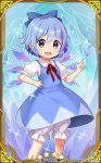 1girl :d bandaid bandaid_on_knee bangs bloomers blue_bow blue_dress blue_eyes blue_hair blush bow card_(medium) cirno collared_shirt commentary_request dress eyebrows_visible_through_hair fang hair_between_eyes hair_bow hand_on_hip ice ice_wings index_finger_raised jigatei_(omijin) neck_ribbon official_art open_mouth puffy_short_sleeves puffy_sleeves red_ribbon ribbon shirt short_hair short_sleeves sleeveless sleeveless_dress smile solo sparkle touhou touhou_cannonball underwear v-shaped_eyebrows watermark white_bloomers white_shirt wings