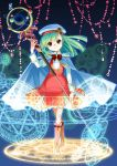 1girl bangs boots brown_eyes cape dress full_body green_hair hat holding holding_staff magic_circle magical_girl original pinafore_dress sailor_hat smile solo staff tairyouki