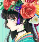 1girl aqua_background aqua_eyes bangs black_hair blunt_bangs choker closed_mouth colored_eyelashes flower hat hat_flower highres hime_cut huacai japanese_clothes looking_at_viewer original portrait profile red_flower red_lips red_ribbon ribbon ribbon_trim sidelocks sideways_glance solo striped striped_ribbon vertical_stripes