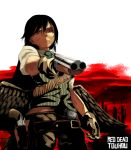 belt_buckle black_hair buckle bullet_belt double_barrels english_text feathered_wings gloves gun handgun holster holstered_weapon john_marston kurokoma_saki pants parody pinstripe_pattern pinstripe_vest pointing pointing_at_viewer red_background red_dead_redemption red_eyes revolver sawed-off_shotgun scar serious shirt short_sleeves shotgun striped sunyup touhou vest weapon white_background white_shirt wily_beast_and_weakest_creature wings