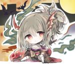 1girl :< animal bangs bare_shoulders bat black_kimono blush character_request chibi closed_mouth commentary_request cottontailtokki dragon_wings eyebrows_visible_through_hair grey_hair hair_between_eyes head_tilt head_wings japanese_clothes katana kimono knee_up kneehighs long_sleeves looking_at_viewer no_shoes off_shoulder ponytail red_eyes sarashi shadowverse shingeki_no_bahamut sitting solo sword weapon white_legwear white_wings wide_sleeves wings