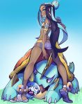 1girl aqua_hair armband armlet ass belly_chain black_hair blue_background blue_eyes breasts commentary dark_skin drednaw english_commentary eyeliner eyeshadow eymbee flat_ass forehead from_behind full_body gradient gradient_background gym_leader hair_bun highres holding holding_poke_ball jewelry kneepits lips long_legs looking_back makeup multicolored_hair nose plantar_flexion poke_ball pokemon pokemon_(creature) pokemon_(game) pokemon_swsh rurina_(pokemon) sandals shorts small_breasts sobble streaked_hair swimsuit tankini