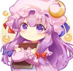 1girl bangs blue_ribbon blush book capelet chibi commentary crescent crescent_hair_ornament dress eyebrows_visible_through_hair hair_between_eyes hair_ornament hat hat_ribbon holding holding_book long_hair long_sleeves looking_at_viewer mob_cap patchouli_knowledge purple_capelet purple_dress purple_hair purple_headwear red_ribbon ribbon shangguan_feiying simple_background smile solo touhou upper_body violet_eyes white_background