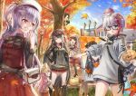 6+girls admiral_graf_spee_(azur_lane) ajax_(azur_lane) ark_royal_(azur_lane) arm_up autumn_leaves azur_lane bag bangs behind_tree black-framed_eyewear black_hair black_legwear blue_sky blunt_bangs braid brown_headwear building camera closed_eyes deutschland_(azur_lane) easel eating glasses hand_up handbag hands_on_hips hat highres kisaragi_(azur_lane) lamppost lavender_hair lens_flare long_hair long_sleeves multicolored_hair multiple_girls mutsuki_(azur_lane) open_mouth outdoors paintbrush painting painting_(object) palette parted_lips pink_hair plaid plaid_skirt pout red_skirt sho_(sumika) short_hair short_shorts shorts silver_hair skirt sky standing streaked_hair sweatdrop sweater swept_bangs tree two-tone_hair two_side_up violet_eyes
