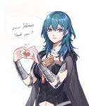 1girl armor black_cape blue_eyes blue_hair byleth_(fire_emblem) byleth_(fire_emblem)_(female) cape clovisxvii cute english english_commentary female_my_unit_(fire_emblem:_fuukasetsugetsu) fire_emblem fire_emblem:_fuukasetsugetsu fire_emblem:_three_houses fire_emblem_heroes followers heart heart_hands highres intelligent_systems koei_tecmo medium_hair my_unit_(fire_emblem:_fuukasetsugetsu) navel nintendo parted_lips simple_background solo super_smash_bros. team_ninja upper_body white_background