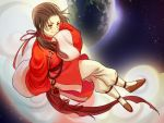 1boy axis_powers_hetalia blush brown_eyes brown_hair china_(hetalia) chinese_clothes closed_mouth clouds earth hangleing highres long_hair long_sleeves looking_at_viewer night night_sky planet ponytail sitting sky smile solo