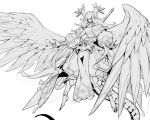 1girl absurdres bangs bare_shoulders barefoot black_nails dragalia_lost dragon fingernails greyscale highres horns japanese_clothes long_hair marishiten_(dragalia_lost) monochrome parted_lips pointy_ears sharp_fingernails simple_background smile solo sword tail very_long_hair weapon weapon_on_back white_background wings xiao_(creation0528)
