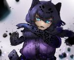 1girl adeshi_(adeshi0693119) animal_ears animal_print aqua_eyes bangs black_hair black_jaguar_(kemono_friends) breast_pocket clenched_hand debris elbow_gloves eyebrows_visible_through_hair eyelashes fang fur_scarf gloves hair_between_eyes hand_up head_tilt highres jaguar_ears jaguar_print kemono_friends medium_hair multicolored_hair open_mouth pocket print_gloves purple_shirt scarf serious shirt short_sleeves solo two-tone_hair upper_body v-shaped_eyebrows