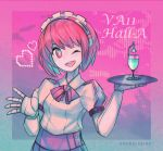1girl ;d android artist_name bow bowtie commentary copyright_name dorothy_haze hairband kky one_eye_closed open_mouth pink_background pixel_heart purple_background red_eyes redhead short_hair smile solo tray two-tone_background upper_body va-11_hall-a