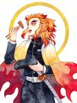 1boy :d acolyptic artist_name black_jacket black_pants blonde_hair chopsticks eating haori highres holding holding_chopsticks jacket japanese_clothes kimetsu_no_yaiba male_focus military military_jacket military_uniform multicolored_hair open_mouth orange_eyes pants redhead rengoku_kyoujurou sheath sheathed smile solo sword two-tone_hair uniform weapon white_background