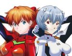 2girls arms_up ayanami_rei blue_eyes bodysuit breasts breasts_apart brown_hair closed_mouth hair_between_eyes headgear long_hair looking_at_viewer medium_breasts multiple_girls neon_genesis_evangelion plugsuit red_bodysuit red_eyes shiny shiny_hair short_hair silver_hair simple_background smile souryuu_asuka_langley upper_body user_rdus3228 white_background white_bodysuit