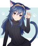 1girl animal_ears bangs black_bodysuit blue_background blue_eyes blue_hair blush bodysuit cat_ears cat_girl cat_tail claw_pose closed_mouth cute eyebrows_visible_through_hair fingernails fire_emblem fire_emblem:_kakusei fire_emblem_awakening hair_between_eyes hand_up haru_(nakajou-28) head_tilt intelligent_systems kemonomimi_mode long_hair long_sleeves looking_at_viewer lucina lucina_(fire_emblem) moe nintendo paw_pose ribbed_bodysuit sleeves_past_wrists solo tail tiara two-tone_background very_long_hair white_background