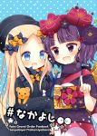 2girls :d abigail_williams_(fate/grand_order) bangs black_bow black_dress black_headwear blonde_hair blue_background blue_eyes blush bow checkered commentary_request copyright_name cover cover_page dress eye_contact eyebrows_visible_through_hair fate/grand_order fate_(series) forehead hair_bow hair_ornament hat japanese_clothes katsushika_hokusai_(fate/grand_order) kimono long_hair long_sleeves looking_at_another multiple_girls obi object_hug open_mouth orange_bow parted_bangs pointing polka_dot polka_dot_background polka_dot_bow purple_hair purple_kimono sash short_sleeves sleeves_past_fingers sleeves_past_wrists smile stuffed_animal stuffed_toy teddy_bear toko_(torisan_ren) v-shaped_eyebrows very_long_hair violet_eyes