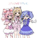 3girls :d animal_ears bangs blue_bow blue_dress blue_eyes blue_hair blush bow cat_ear_headphones cat_ears commentary_request dress eyebrows_visible_through_hair fake_animal_ears gloves hair_between_eyes hair_bow hat headphones holding holding_microphone hood hood_down hooded_jacket ienaga_mugi jacket long_sleeves looking_at_viewer microphone multiple_girls nijisanji open_mouth outstretched_arm pink_bow pink_capelet pink_headwear puffy_short_sleeves puffy_shorts puffy_sleeves red_bow short_shorts short_sleeves shorts simple_background sleeves_past_wrists smile striped striped_jacket striped_shorts translated twintails ushimi_ichigo v-shaped_eyebrows virtual_youtuber white_background white_gloves white_shorts yamabukiiro yuuki_chihiro