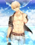 1boy adonis_belt blonde_hair blue_shirt bracelet earrings establishment_(fate/grand_order) facing_viewer fate/grand_order fate_(series) gilgamesh gilgamesh_(caster)_(fate) jewelry male_focus necklace open_clothes open_shirt pants red_eyes shirt smile teddy_(khanshin) white_pants