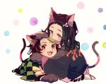 1boy 1girl animal_ears bamboo bit_gag black_hair brother_and_sister cat_ears cat_tail checkered chibi earrings facial_scar full_body gag geta hair_ribbon haori hug japanese_clothes jewelry kamado_nezuko kamado_tanjirou kemonomimi_mode kimetsu_no_yaiba kimono long_hair long_sleeves looking_at_viewer mouth_hold multicolored_hair orange_hair paws pink_eyes pink_kimono red_eyes ribbon scar shimotsuki_sima siblings tabi tail two-tone_hair very_long_hair white_background