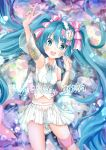 absurdres aqua_neckwear arm_up armpits bare_shoulders blue_eyes blue_hair blurry blurry_background blush bow character_name commentary cowboy_shot crop_top dated detached_sleeves double-breasted english_text finger_to_cheek groin hair_ornament hair_ribbon happy_birthday hatsune_miku highres index_finger_raised lace-trimmed_bow long_hair looking_at_viewer medal midriff miniskirt navel necktie open_mouth pink_bow ribbon ronsyoro_(twitter) see-through see-through_sleeves shirt short_necktie skirt sleeveless sleeveless_shirt smile striped striped_ribbon thigh_strap twintails v very_long_hair vocaloid waist_bow white_shirt white_skirt