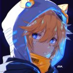 1boy aotu_world barcode black_background blue_eyeshadow cracked_skin cracked_wall face glowing hair_between_eyes highres hood hood_up male_focus orange_hair parted_lips quail0503 signature simple_background solo