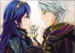 1boy 1girl a_meno0 black_gloves blue_eyes blue_hair brown_eyes closed_mouth couple daisy eye_contact eyebrows_visible_through_hair fingerless_gloves fire_emblem fire_emblem:_kakusei fire_emblem_awakening flower friendship from_side gloves hair_between_eyes holding holding_flower intelligent_systems long_hair looking_at_another looking_at_viewer love lucina lucina_(fire_emblem) male_my_unit_(fire_emblem:_kakusei) my_unit_(fire_emblem:_kakusei) nintendo reflet robin_(fire_emblem) robin_(fire_emblem)_(male) shoulder_armor silver_hair smile super_smash_bros. upper_body white_background white_flower