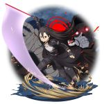 2boys androgynous beam_saber black_cape black_eyes black_footwear black_gloves black_hair black_pants breastplate cape clenched_teeth death_gun fingerless_gloves floating_hair full_body gloves hair_between_eyes highres holding holding_sword holding_weapon kirito_(sao-ggo) long_hair long_sleeves multiple_boys official_art otoko_no_ko outstretched_arms pants red_eyes running sword sword_art_online teeth v-shaped_eyebrows very_long_hair waist_cape weapon